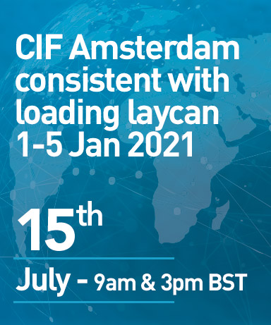 CIF Amsterdam consistent with loading laycan 1-5 Jan 2021